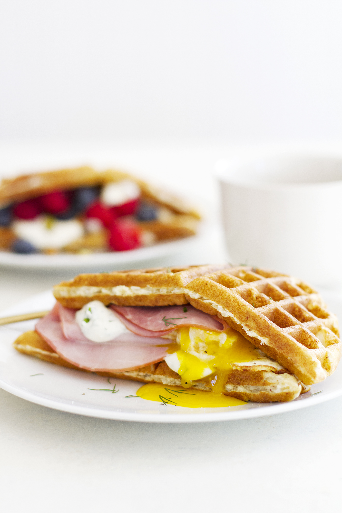 Sweet and Savory Gluten Free Waffle Breakfast Sandwiches | girlversusdough.com @girlversusdough