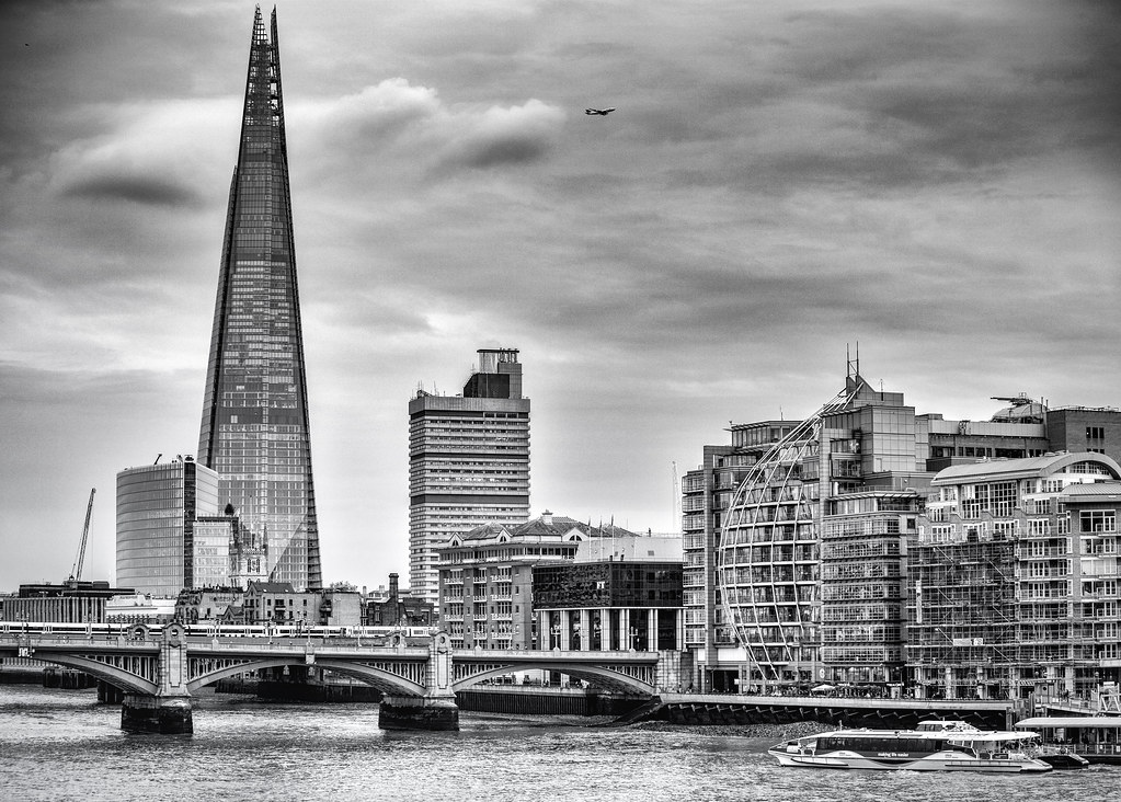 London Shard and Plane