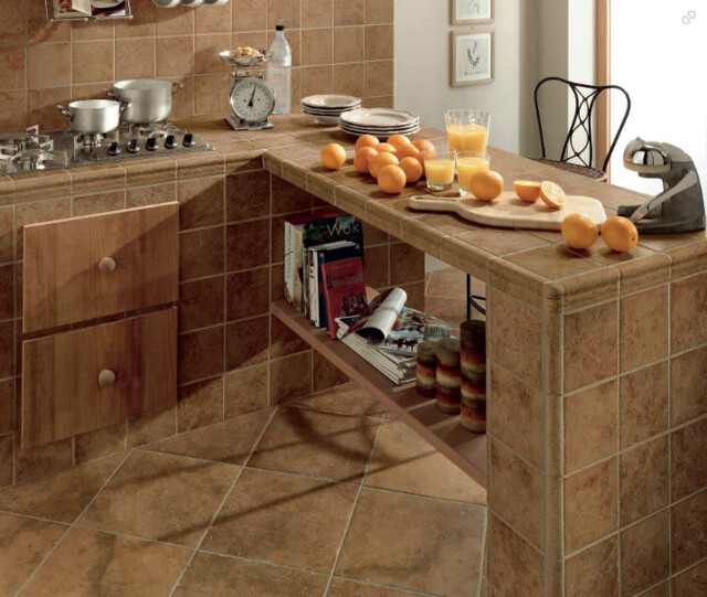 Kitchen Cabinets Arizona: Custom Kitchen Island Tile Counter-Top And Backspash