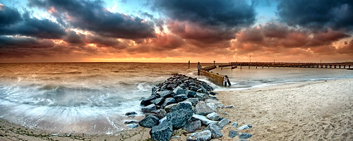 morning panorama motion beach colors clouds sunrise dawn pier early waves pano jetty maryland windy stormy lee northbeach filters stitched chesapeakebay 3shots singhray yinandyan