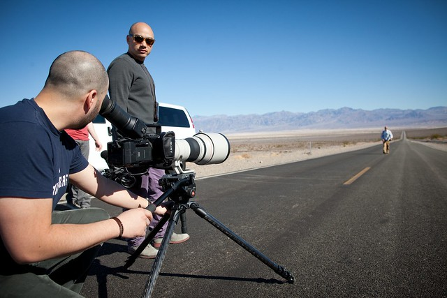 Manfrotto Be Free Tripod ad shoot BTS - Death Valley long shot