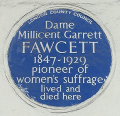 Photo of Millicent Fawcett blue plaque