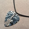 Guitar on Black and White Abalone Guitar Pick Necklace