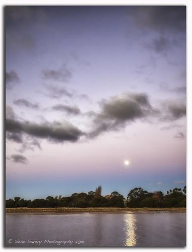 sunset sky moon clouds river lumix panasonic ulverstone verticallandscape levenriver dmcgf1 olympus17mmf18