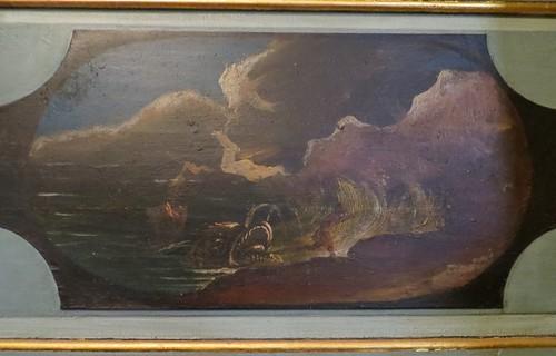 Jonas et la baleine, détail des décors du choeur, église St Martin, Lévignacq, pays de Born, Landes, Aquitaine, France.