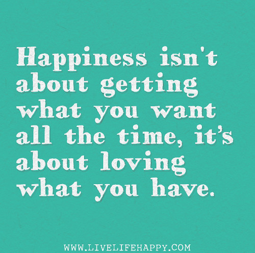 Happiness isn't about getting what you want all the time, it's about loving what you have.