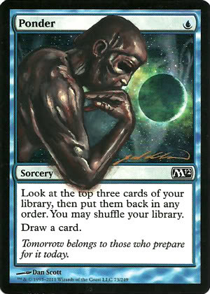 Ponder Magic the Gathering Art MTG artwork The Thinker Auguste Rodin The Thinker parody
