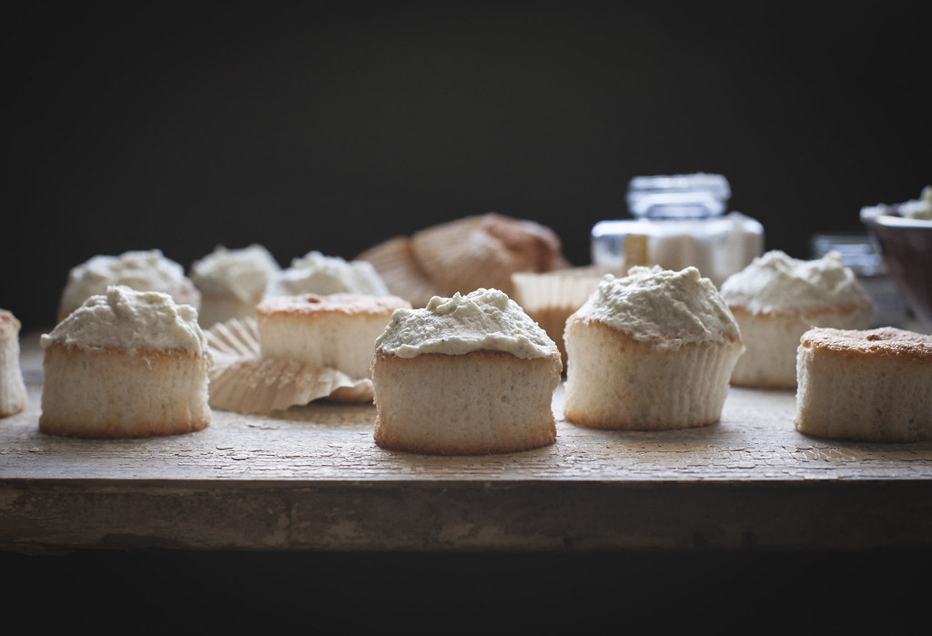 Angel Food Cupcakes with Coconut-Lemongrass Whipped Cream