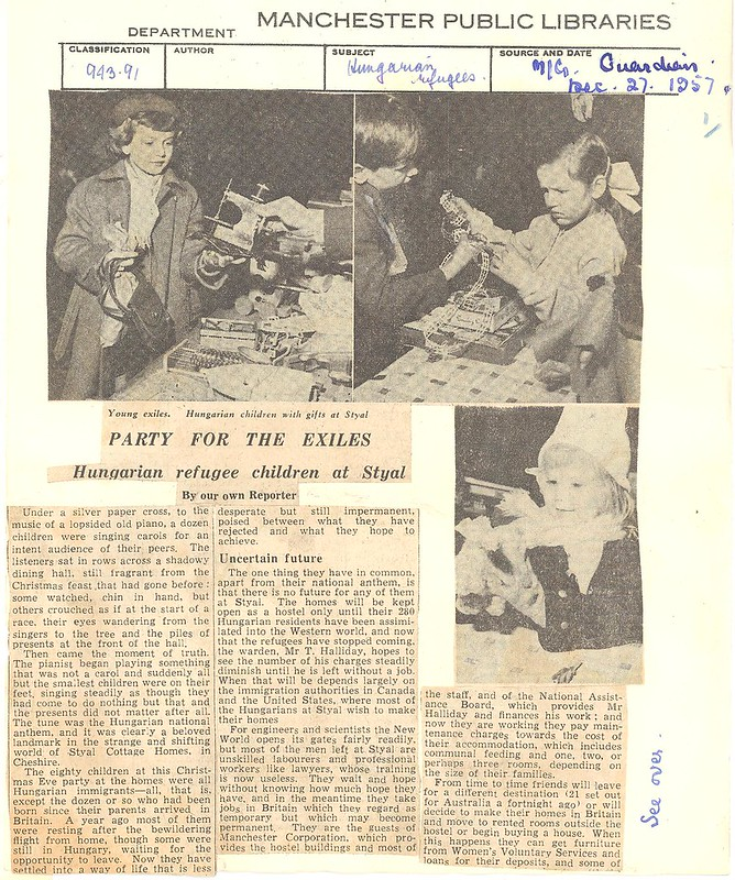 Party for the exiles - Hungarian refugee children at Styal, Manchester Evening News, 27 Dec 1957
