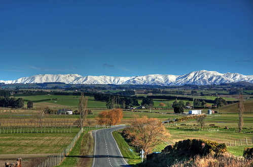 road newzealand mountains day farmland clear nz fields timaru southcanterbury hunterhills top20nz blueskylandscapecartwrights