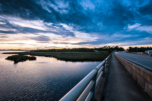 bridge sunset sky landscape scenic bayou
