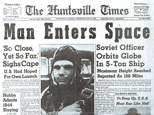 The-one-from-a-U.S.-newspaper-on-12-April-1961-Yuri-Gagarin-pioneered-manned-spaceflight