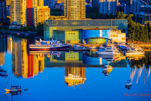 blue reflection water vancouver sunrise boats downtown bluewater falsecreek vancouverbc urbanscene cityofvancouver vancouvercity edgewatercasino cans2s falsecreekeast tedsphotos enterprisehall
