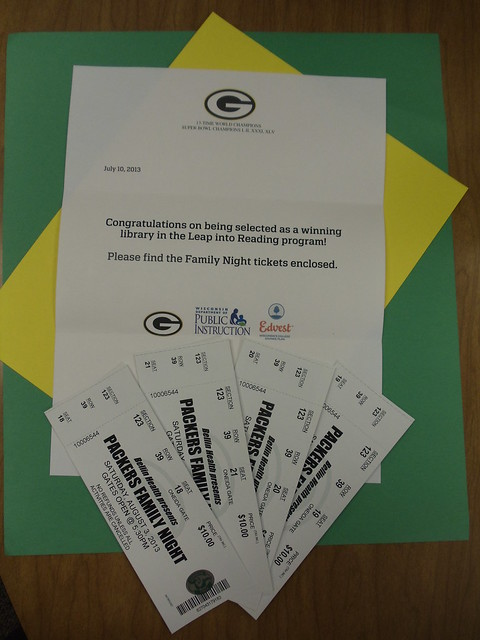 Lake Mills was selected as a winning library for the Leap Into Reading promotion by the Packers.