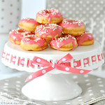 Gluten free mini raspberry glazed Nectarine doughnuts