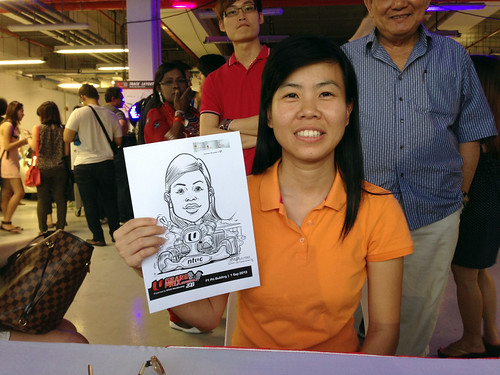 caricature live sketching for NTUC U Grand Prix Experience 2013 - 26