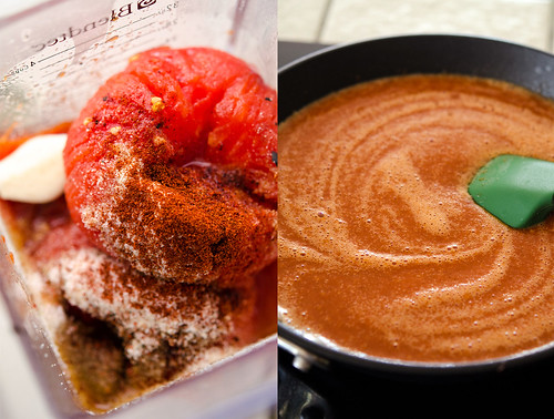 Red sauce ingredients in a blender pitcher, on the right, simmering red sauce