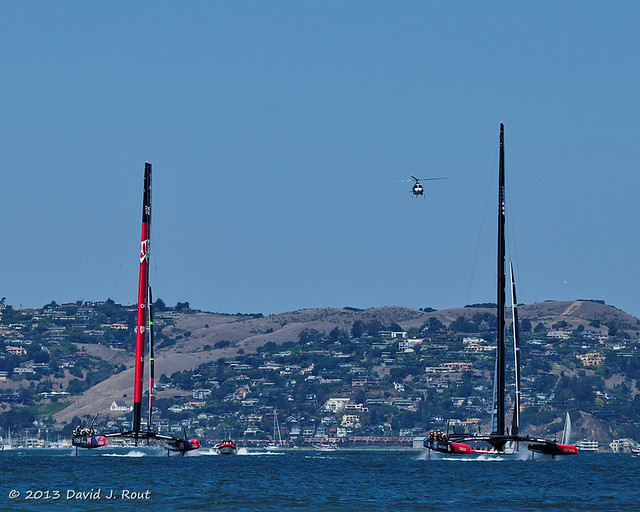 Race 6 - 34th America's Cup - San Francisco - 2013. First beat to Mark 1.