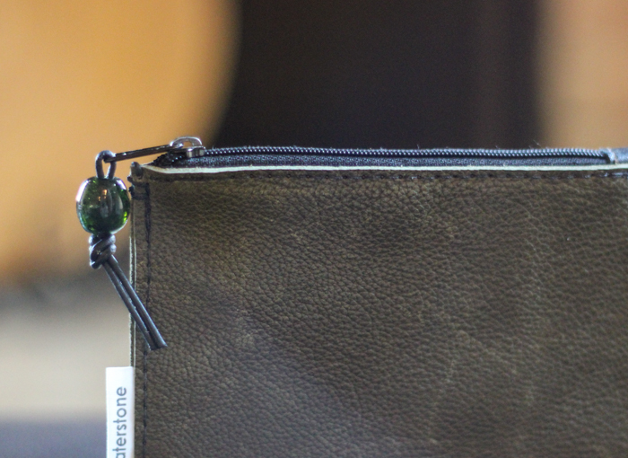 shades of fall - green leather pouch