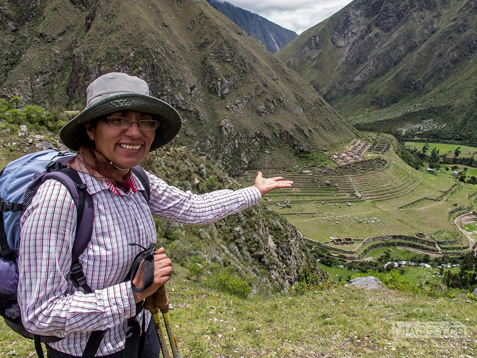 Our guide, Nancy, presents the first of the sites we were to encounter on the Inca Trail.