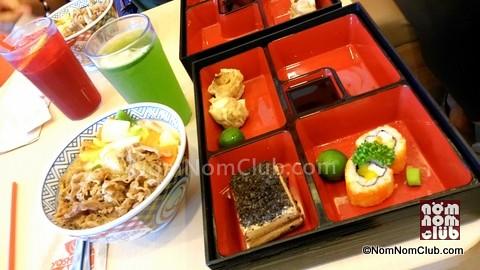 Yoshinoya Maki-Siomai-dessert sampler platter
