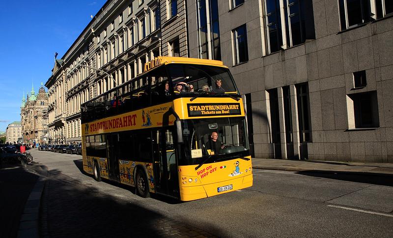 漢堡市的黃色雙層公車
