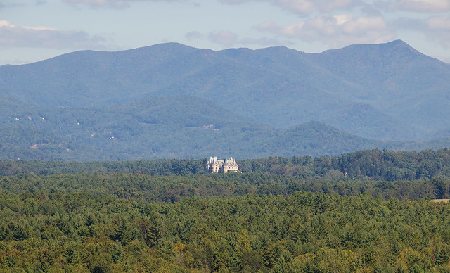 Western side of the Biltmore House as seen from the Blue Ridge Parkway