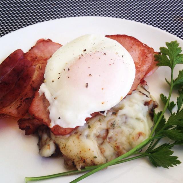 Breakfast - bacon, poached egg & mash potato
