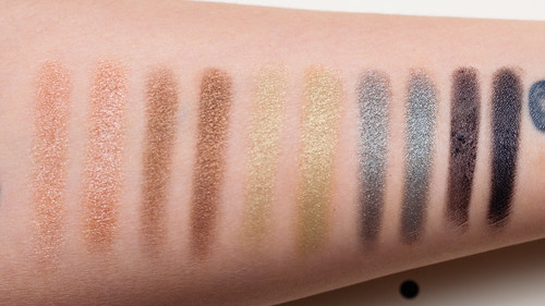 Profusion Twinkle Twinkle 5 Color Eyeshadow Palette 03 - Swatches without primer (L) with primer (R)