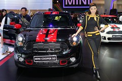 Mini Cooper SD with beautiful, sexy presenter at the 30th Thailand International Motor Expo 2013
