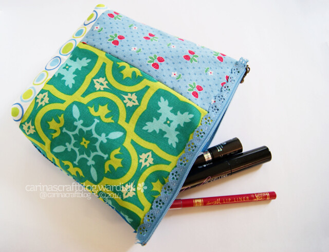 Blue and green makeup pouch