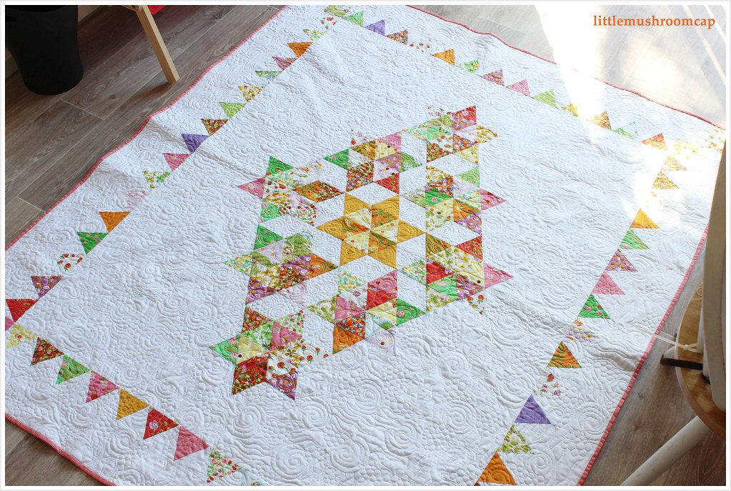Quilt Briar Rose Starry Diamond Equilateral Triangle swirly quilting