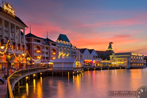 sunset water buildings reflections lights hotel orlando florida dolphin restaurants boardwalk wdw waltdisneyworld resorts hdr crescentlake