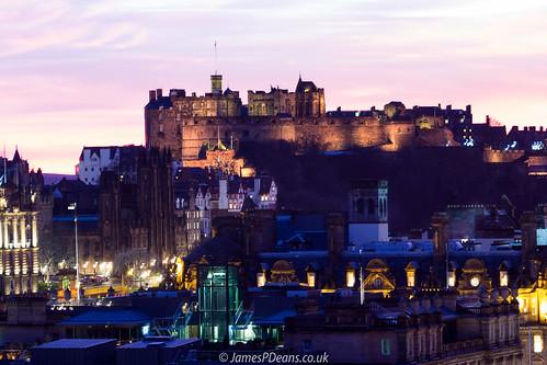 castle edinburgh europe history lothian nighttimeshot scotland timeofday uk unitedkingdom historicscotland sunset gb light lights britain tower architecture