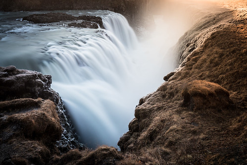 travel colour nature sunrise circle landscape golden waterfall iceland gulfoss