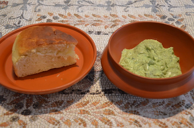 Mixtura cum Caseo (Soft Cheese with a Herb Purée) & Hapalos Artos (soft bread)