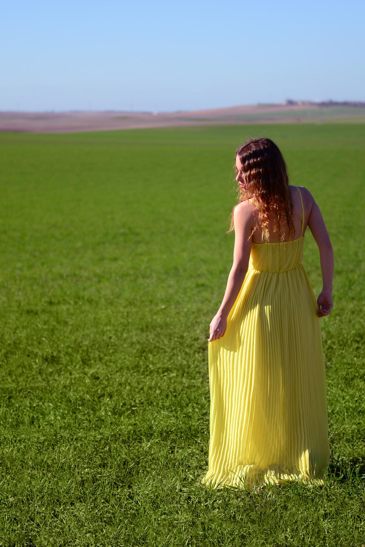 Vestido amarillo de espaldas