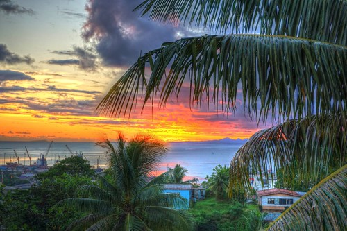 sunset fiji suva tropical hdr
