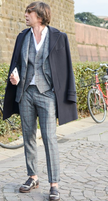 Over Coat + Checked 3 Piece Suit