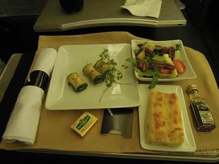 Starter and salad, AA 909, MIA - EZE