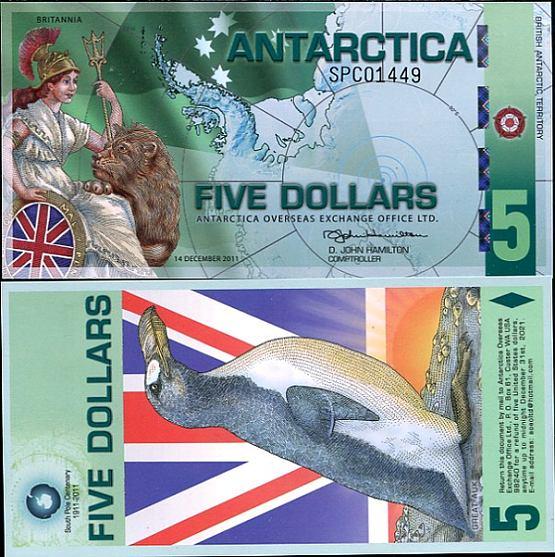 5 Dolárov Antarktída 14.12.2011, polymer