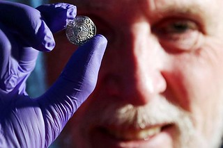 Paul Coleman with Buckinghamshire hoard coin