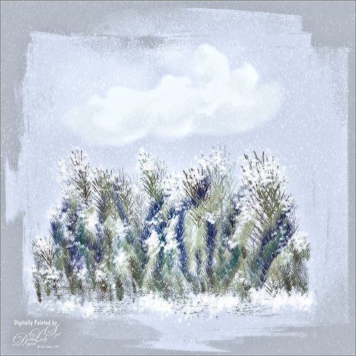 Image of bushes with snow created in Corel Painter