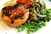 skin on salmon burger, quinoa tabbouleh and other israeli salatim ...