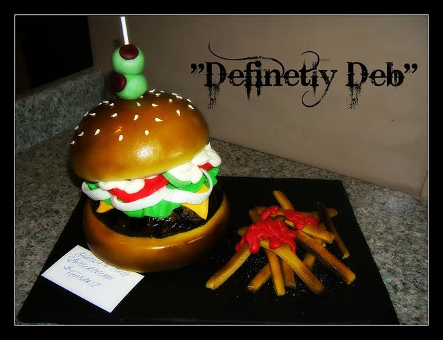 """Burger and Fries Cake by """"DefinetlyDeb"""""""