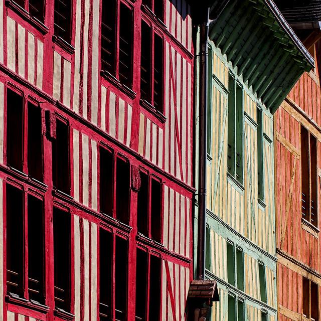 Colombages colorés à Troyes