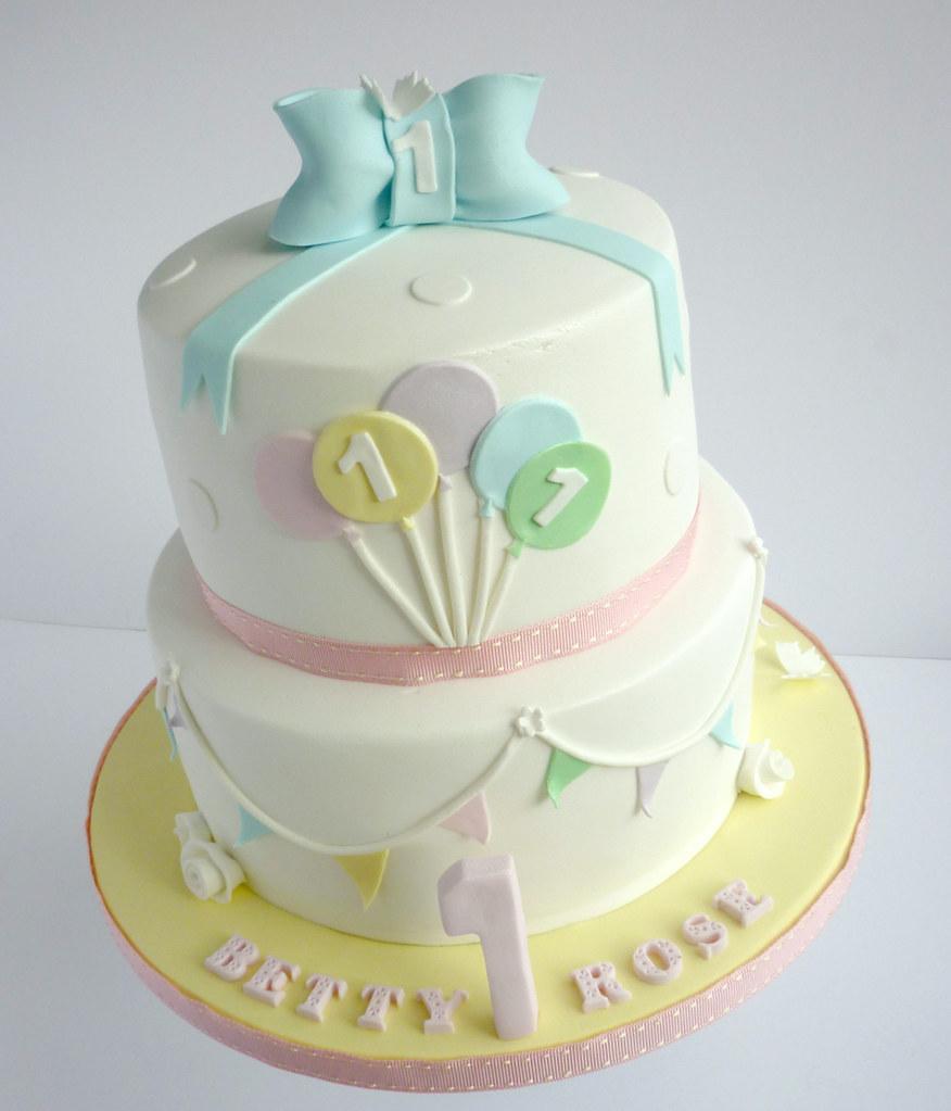 Pastel Bunting 1st Birthday Cake