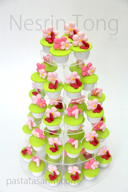 sanem 1st birthday party cupcake tower