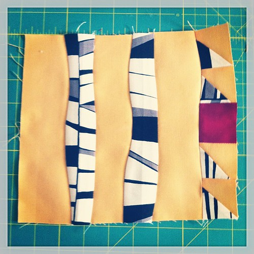 June improv block--finally feeling the flow!  I didn't know curved piecing could be so fun.  Also, I really needed some black & white fabric in my blocks!