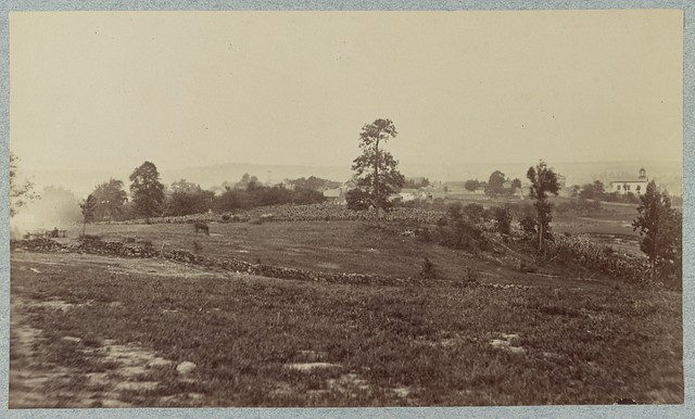 A photograph shows the area of the Confederate assault on Cemetery Hill not long after the Union battery repulsed the fierce attack by the Louisiana Tigers (LOC)